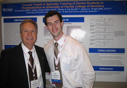 Arthur Nimmo, D.D.S., F.A.C.P., professor and director of Predoctoral Implant Dentistry, served as Evan's mentor for this project.
