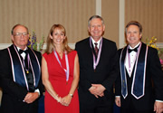 From left: OKU Faculty members Ron Watson, D.D.S.; Micaela Gibbs, D.D.S.; Christopher Spencer, D.D.S.; and Arthur Nimmo, D.D.S., F.A.C.P. Nimmo currently serves as president of the Xi Omicron chapter of OKU and Watson is the secretary-treasurer.