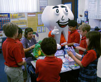 The Mighty Molar helps teach local kids about oral health.