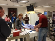 Participants in a pediatric dental sedation training course practiced sedation techniques using a simulated pediatric patient at the University of Florida on April 20, 2013.
