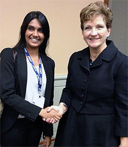 Sherin Merchant, left, with Dr. Nancy Newhouse, president of the A.A.P.  Newhouse invited Sherin to apply for a program in research methodology, developed by Universities of Harvard and Michigan, which will happen in the summer of 2014.