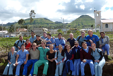 Bhattacharyya is on the far left, second row. Shown during a mission trip to Ecuador in 2012.