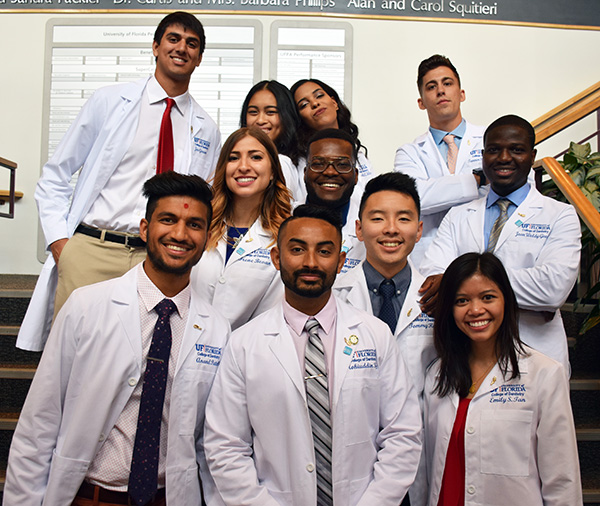 Students at white coat