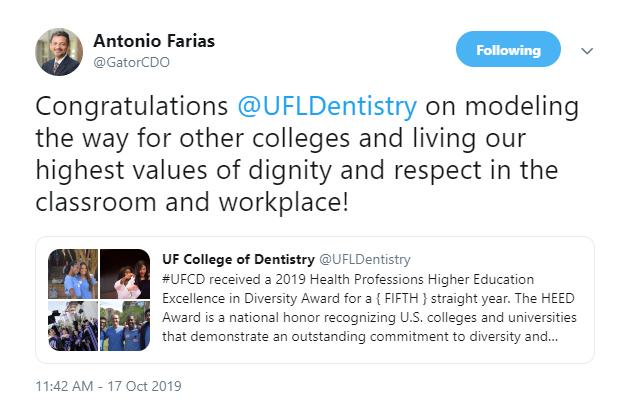 Farias diversity tweet