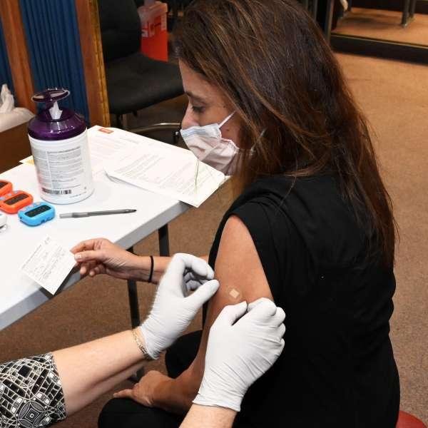 Robert Pileggi receives COVID vaccine