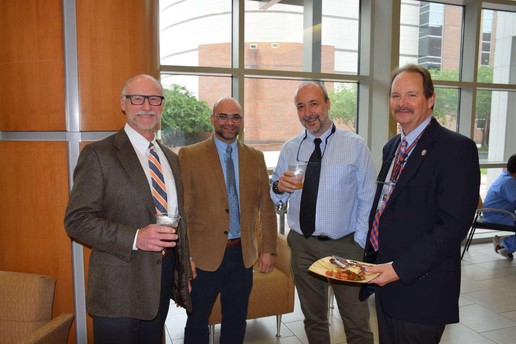 (l to r) Drs. Joe Riley, Alex Delgado, Panos Zoidis & Steve Howard enjoy a UFCD Spotlight on Dental Education Awards Ceremony.